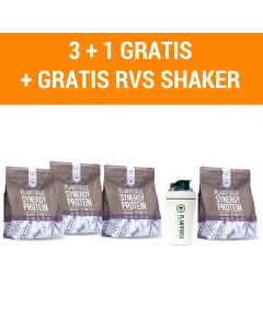 Plantforce Synergy Proteine Chocolade - 3 +1 Gratis & Gratis Plantforce Shaker