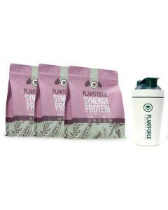 Plantforce - Synergy Proteine Berry - 3x 800 g + Gratis Plantforce Shaker