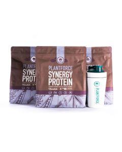 Plantforce Synergy Proteine Chocolade - 3 x 800 g + Gratis Plantforce Shaker