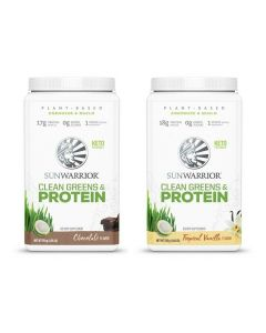 Sunwarrior - Clean Greens & Protein Tropical - Vanilla + Chocolade  - 2 x 750 Gram